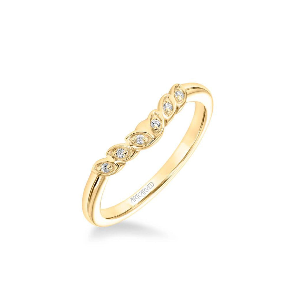 Heather Contemporary Diamond Leaf Wedding Band