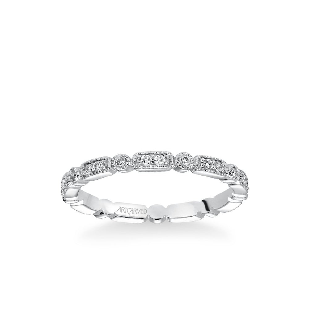 Stackable Eternity Band with Diamond and Milgrain Multi-Shape Details