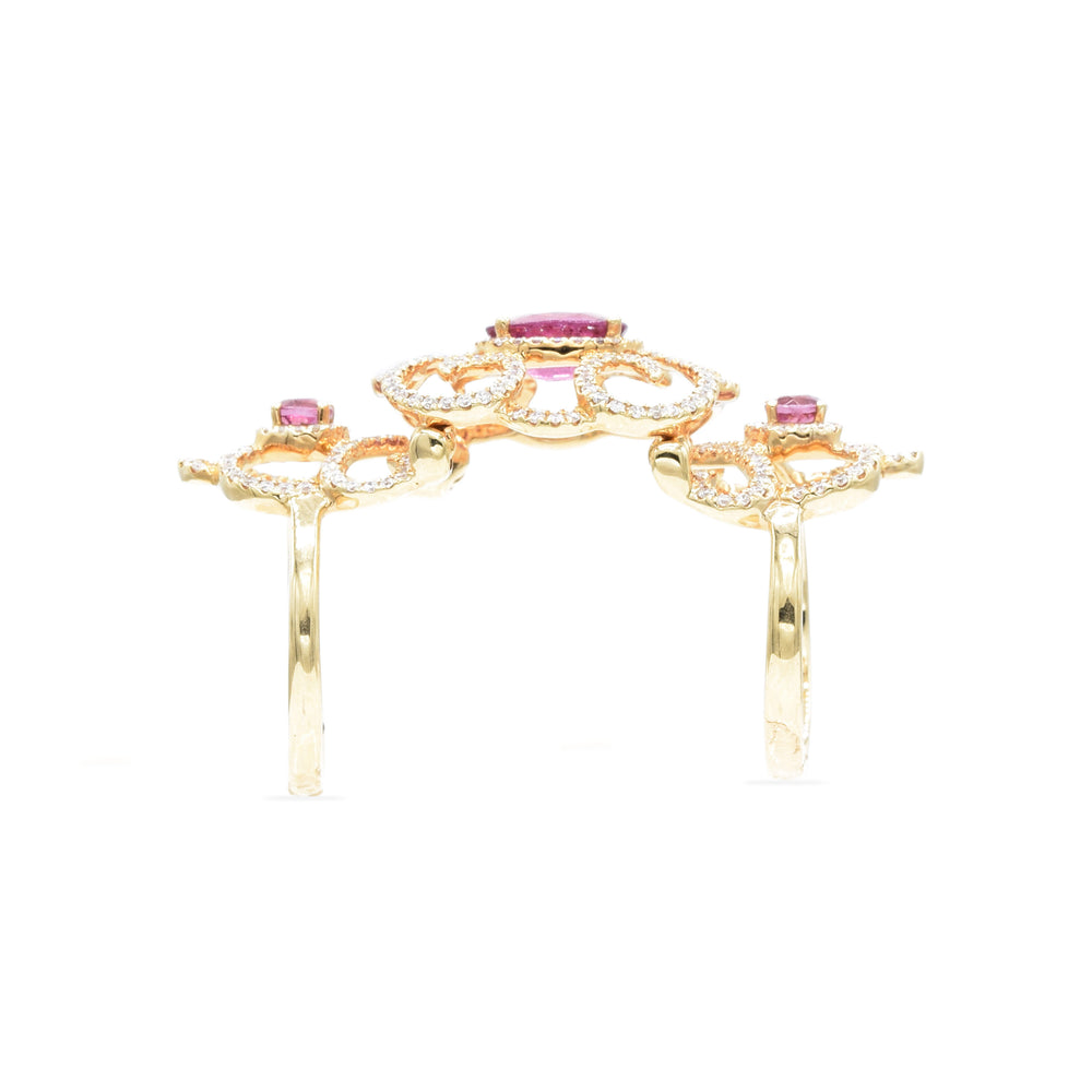 18kt Rose Gold, Rubellite and Diamond Double Ring