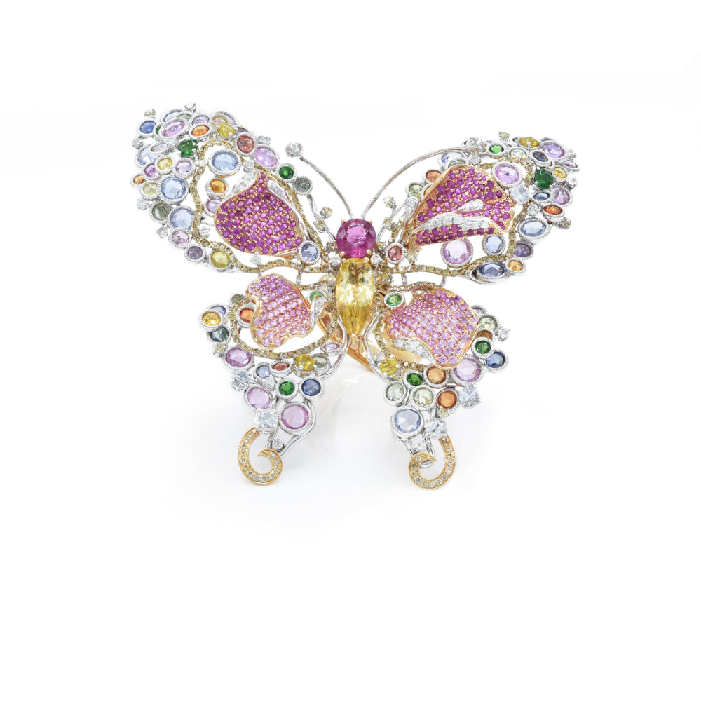 18kt Two-Tone Gold Diamond, Multi-Sapphire and Beryl Butterfly Ring/Pin