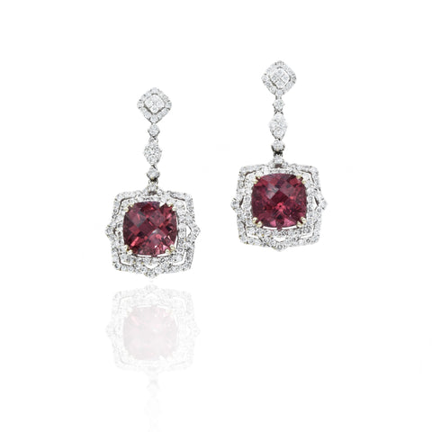 18kt White Gold, Diamond & Pink Tourmaline Drop Earrings
