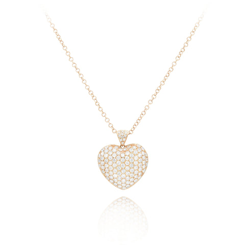 14kt Rose Gold Diamond Heart Pendant
