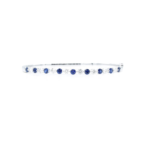 18kt White Gold Sapphire Diamond Bangle