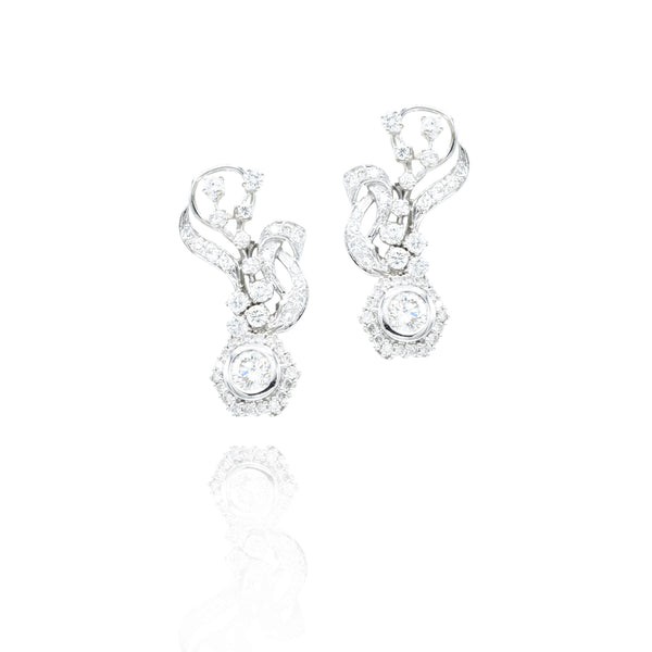 Estate Platinum Leaf Hanging Diamond Earrings