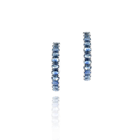 18kt White Gold Sapphire Hoop Earrings