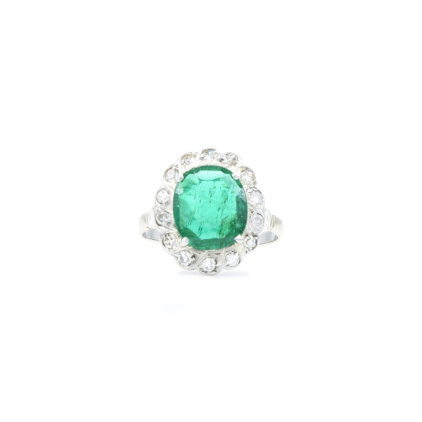 Estate 14kt White Gold, Diamond, and Emerald Ring Circa 1920