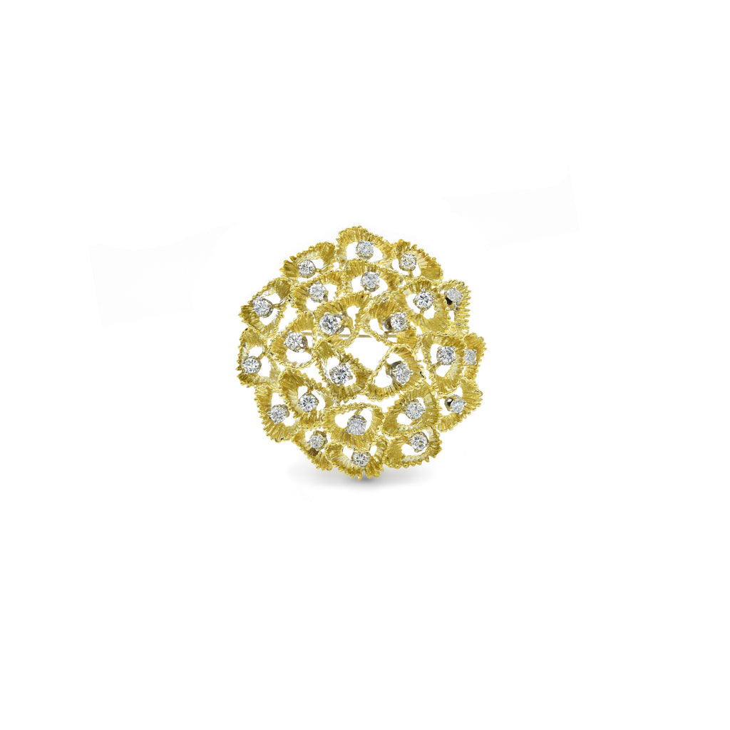 Estate 18kt Gold Handmade 2.0ct Pin