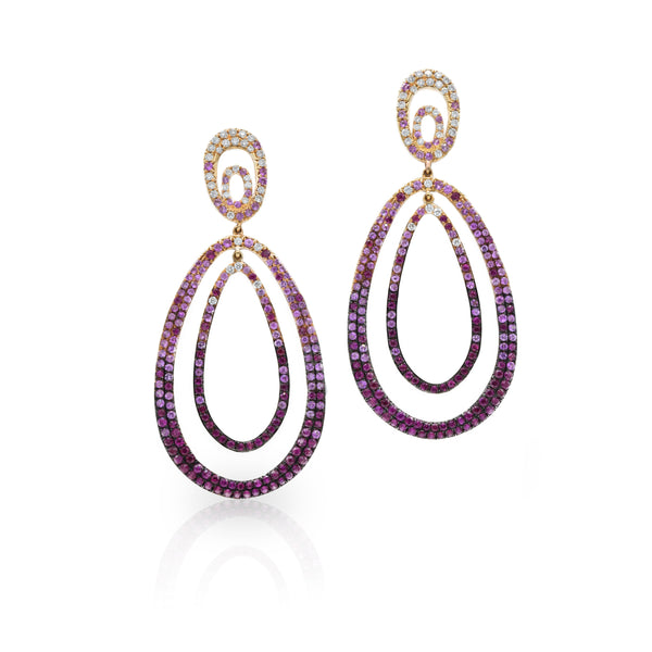 18kt Rose Gold, Diamond, Ruby and Pink Sapphire Drop Earrings