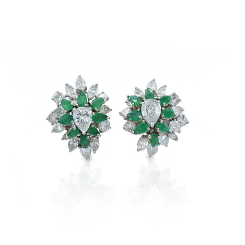 Estate Platinum Diamond 7.22ct and Emerald Earrings