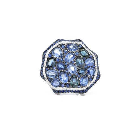 18kt White Gold Multi-cut Sapphire with Diamond Free Form Ring