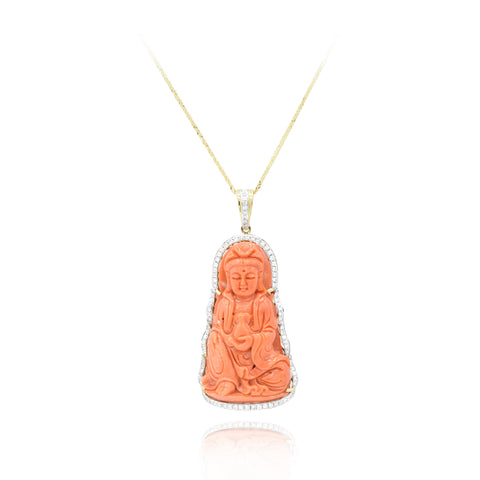 18kt Natural Carved Coral and Diamond Buddah Pendant