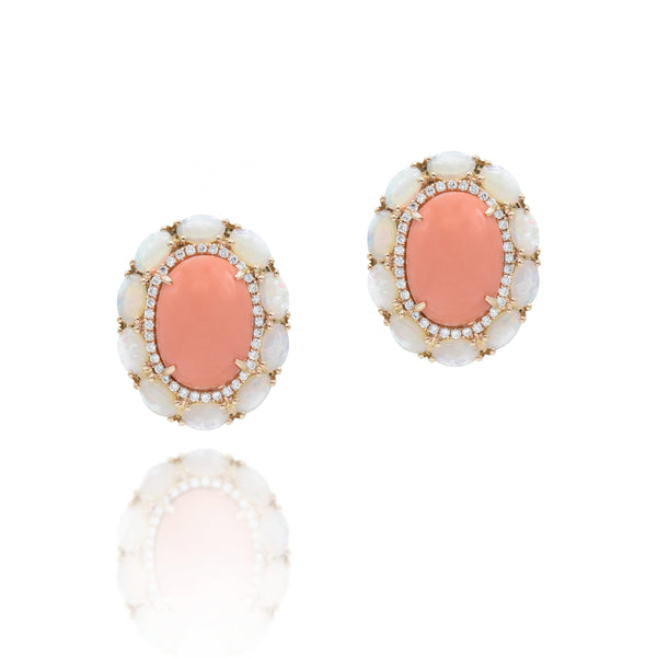 18kt Rose Gold Coral, Opal, and Diamond Earrings