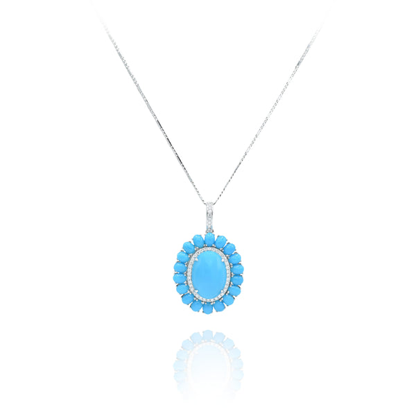 18kt White Gold Turquoise and Diamond Pendant