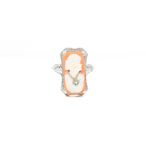 Estate Art Deco 14kt Cameo Ring with Diamonds
