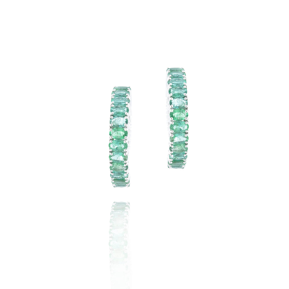 18KT WHITE GOLD EMERALD HOOP EARRINGS
