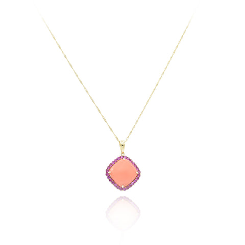 18kt Yellow Gold Coral and Pink Sapphire Pendant
