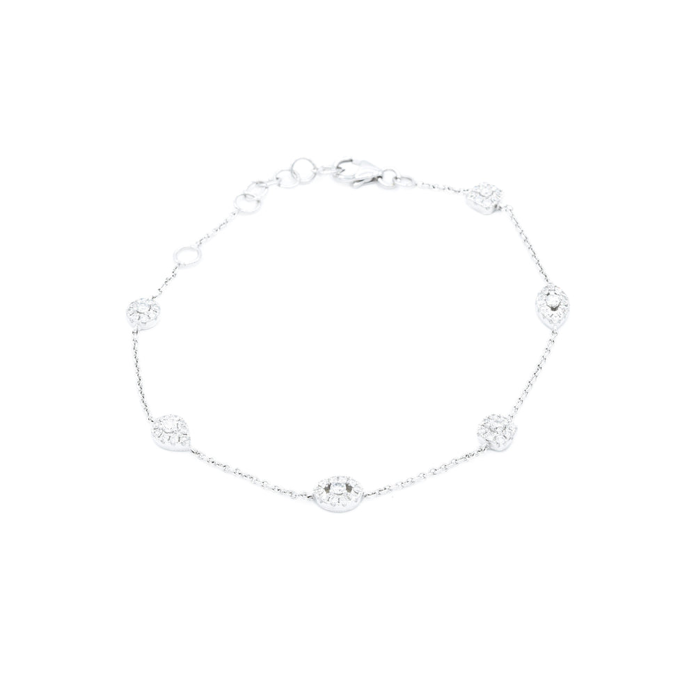18kt White Gold Diamond Section Bracelet