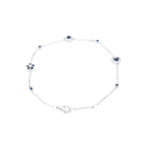 18kt White Gold Sapphire and Diamond Section Bracelet