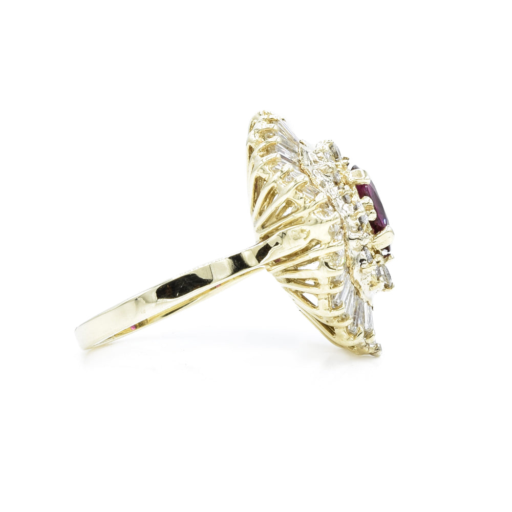 Estate 18kt Yellow Gold Ruby and Diamond Ballerina Set Ring
