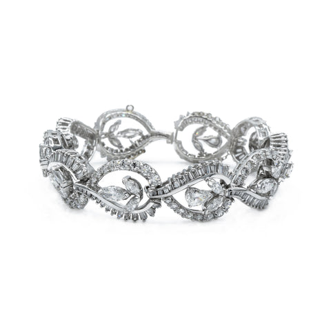 Estate Platinum and 18.0ct Diamond Bracelet