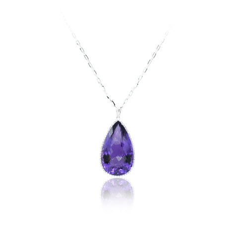 18kt White Gold, Diamond & 89ct Amethyst Pendant