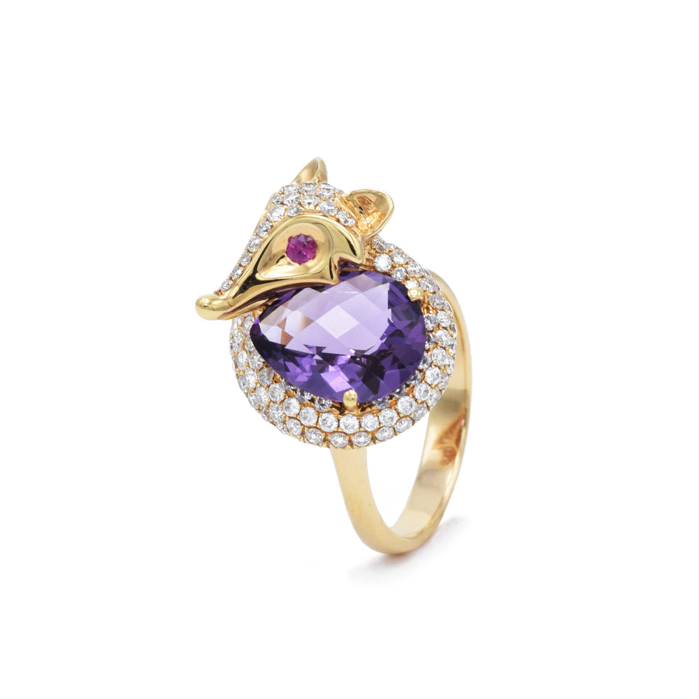 Fox Ring with Amethyst, Ruby, and Diamond