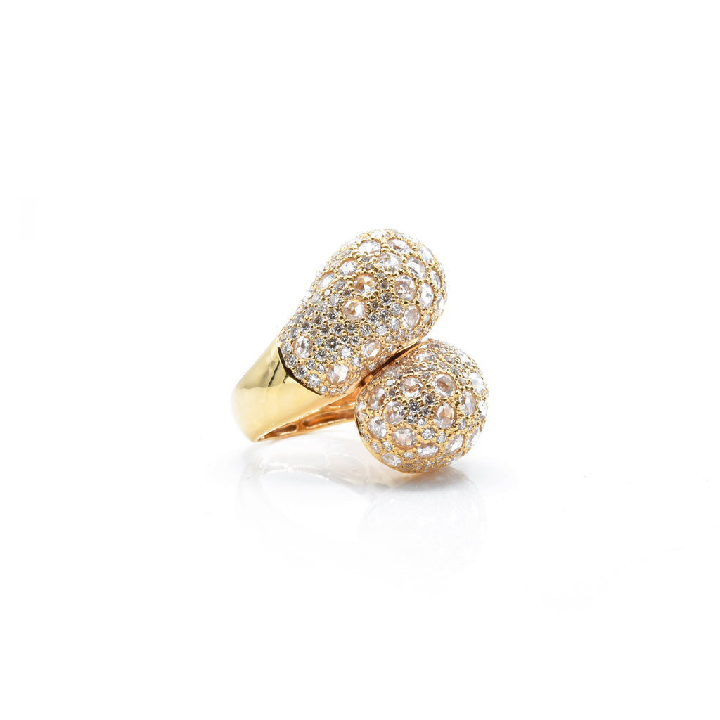 18kt Rose Gold Micro-Pave Diamond Twist Ring
