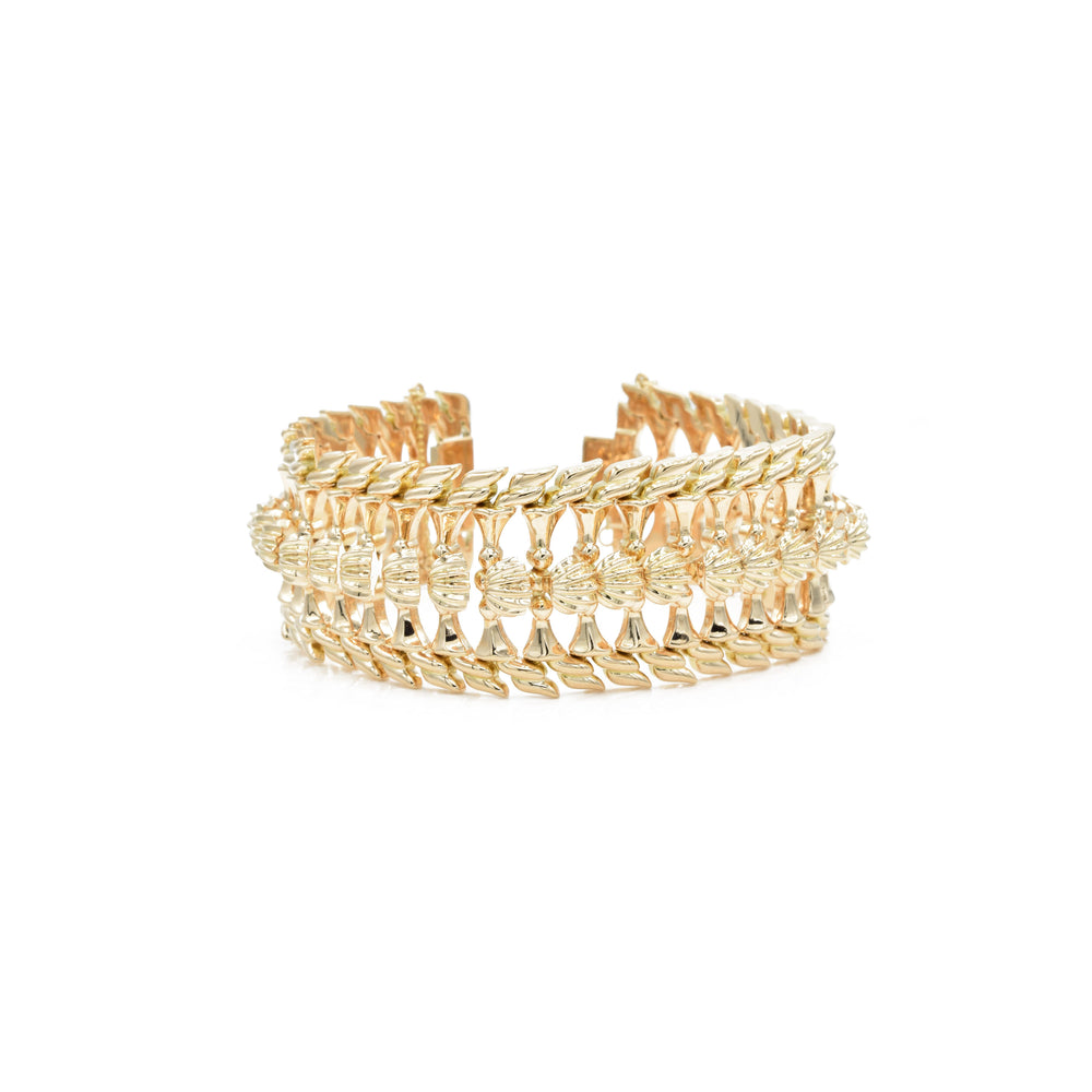 Estate Retro Era 18kt Gold Wide Bracelet