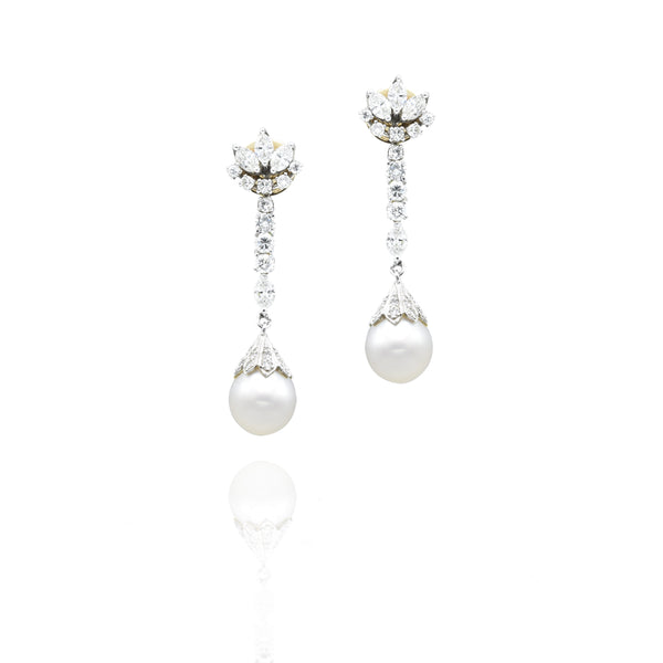 Estate Platinum 14kt Gold, Circa 1920s South Sea and Diamond Drop Earrings