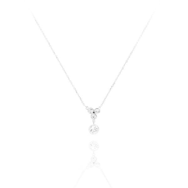 Estate Platinum and 14kt Gold Old European Cut Diamond Necklace