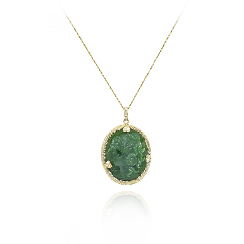 14kt Yellow Gold Carved Jade Pendant