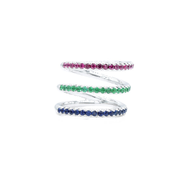 18kt White Gold Ruby, Emerald, and Sapphire Triple Ring