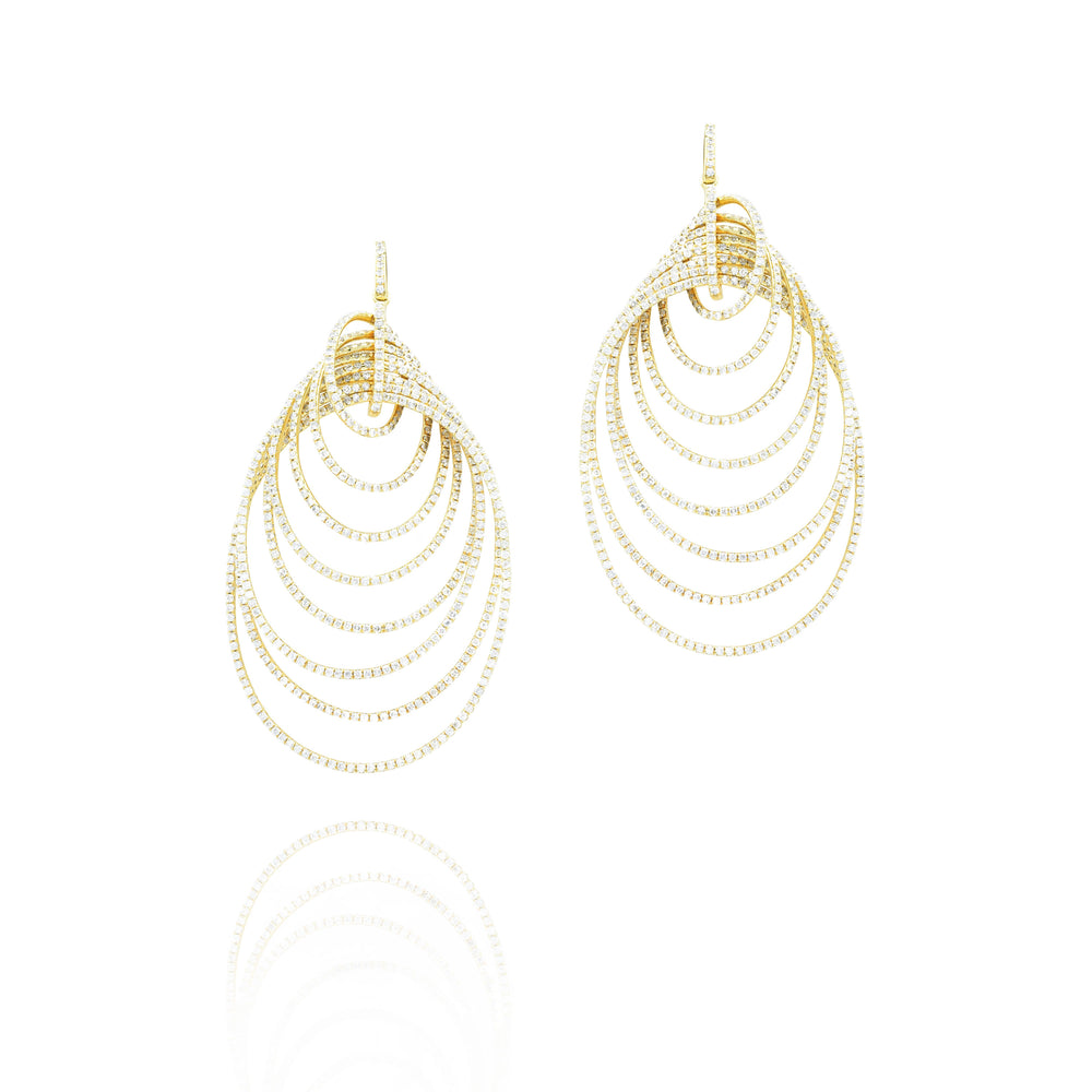 18kt Yellow Gold and Diamond Multi-Oval Drop Earrings
