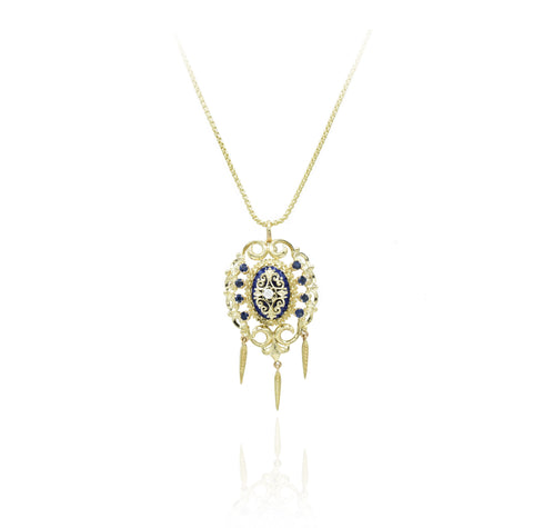 Estate 18kt Yellow Gold, Sapphire, Diamond Pendant/Pin