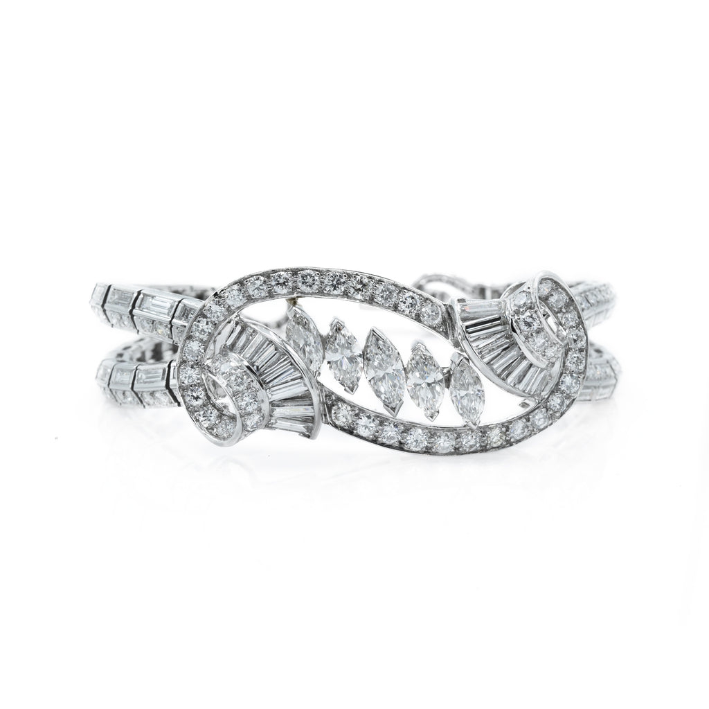 Estate Platinum and 13.74ct Diamond Bracelet Circa 1950's