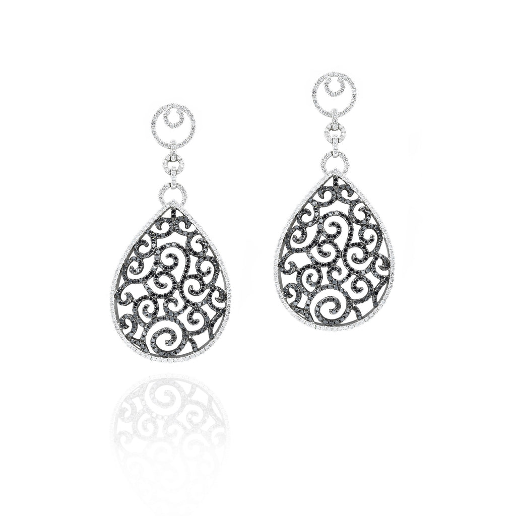 18kt White Gold Black and White Diamond Lace Drop Earrings