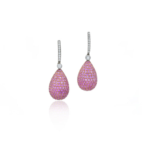 18kt Rose Gold, Pink Sapphire and Diamond Drop Earrings