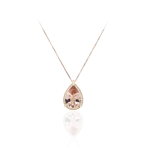 18kt Rose Gold Morganite and Diamond Pendant