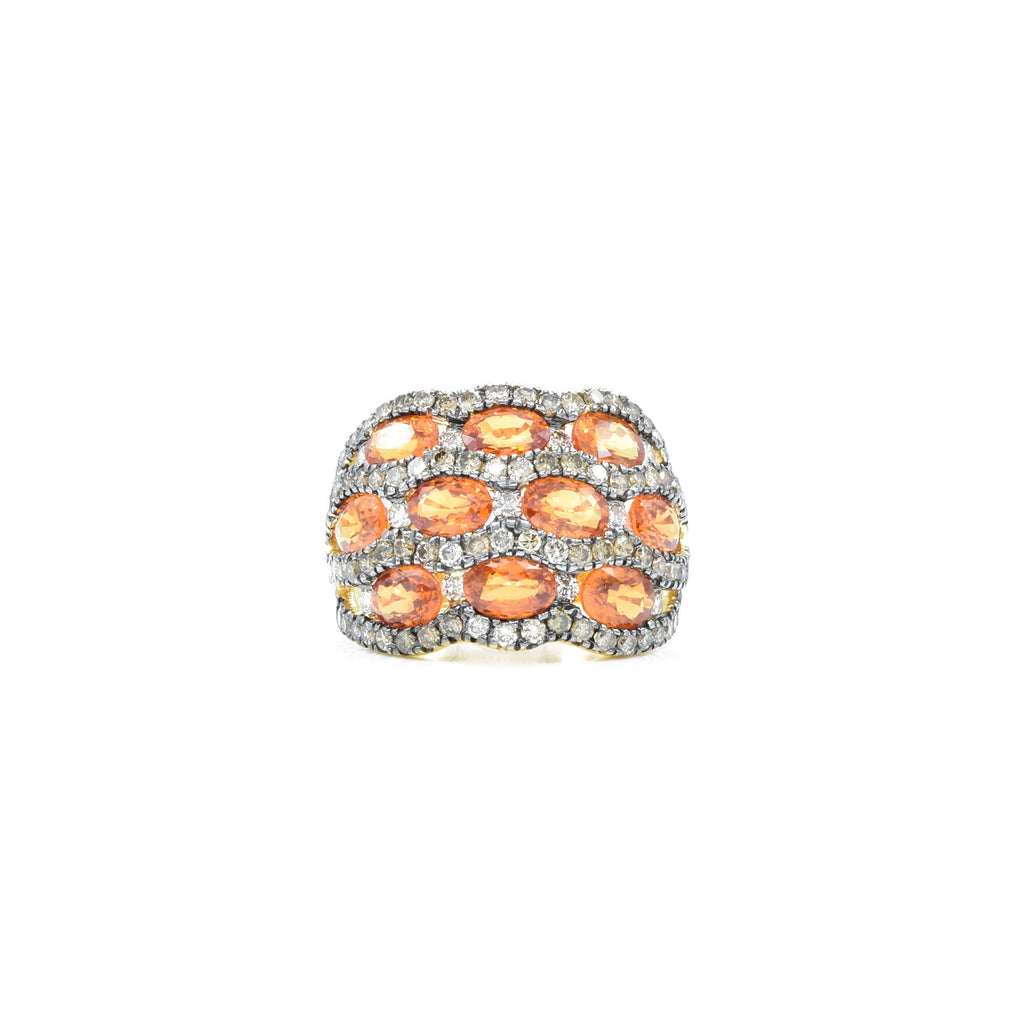 18kt Yellow Gold Champagne Diamond and Orange Sapphire Ring