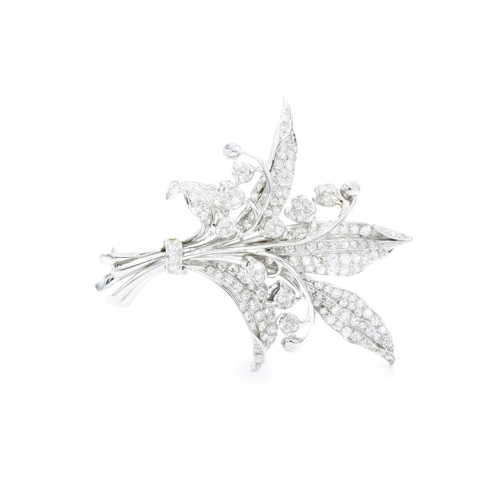 Estate Platinum Flower Pin with Diamonds