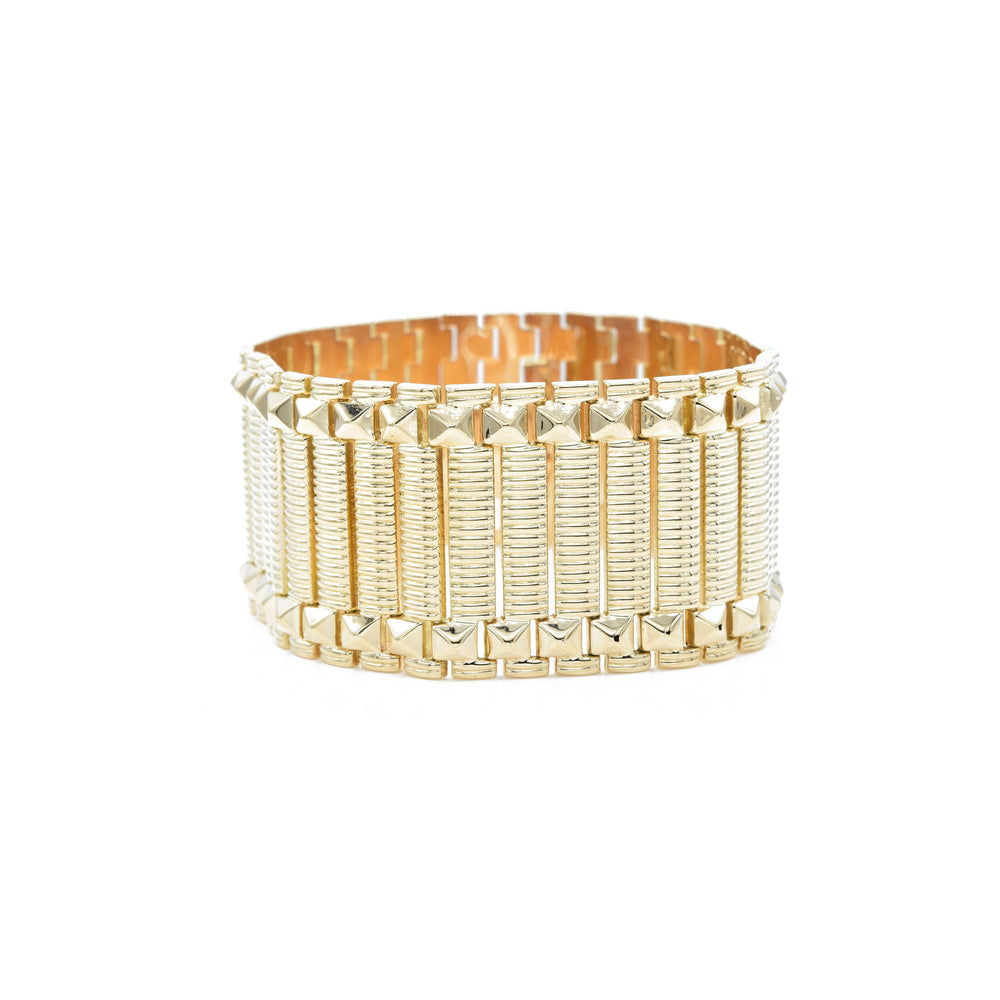 Estate 18kt Yellow Gold Wide Retro Era Bracelet