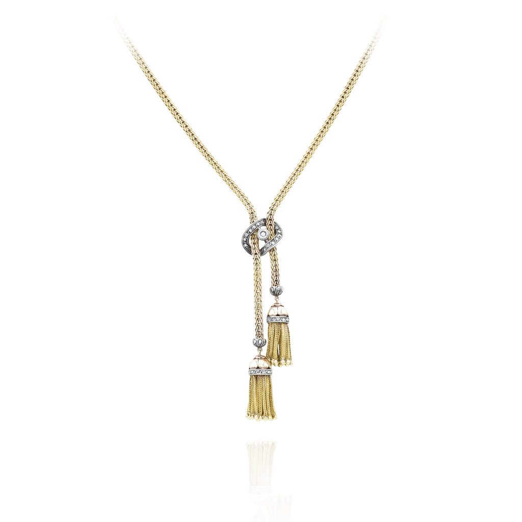 Estate 18kt Yellow Gold and Silver Double Tassle Necklace