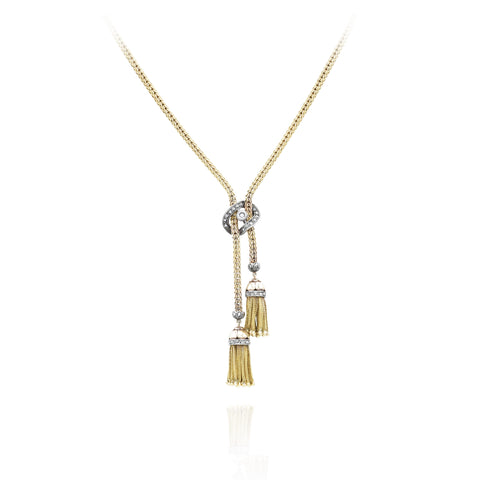Estate 18kt Yellow Gold and Silver Double Tassel Necklace