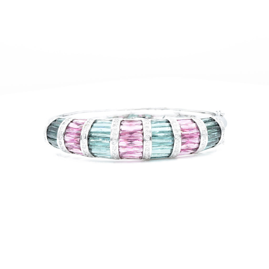 18kt White Gold Pink and Green Tourmaline with Diamond Bangle