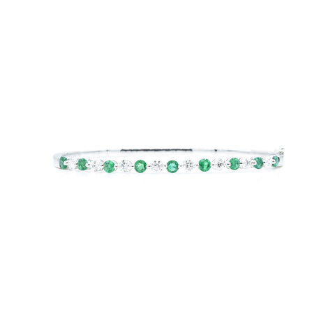 18kt White Gold Emerald Diamond Bangle
