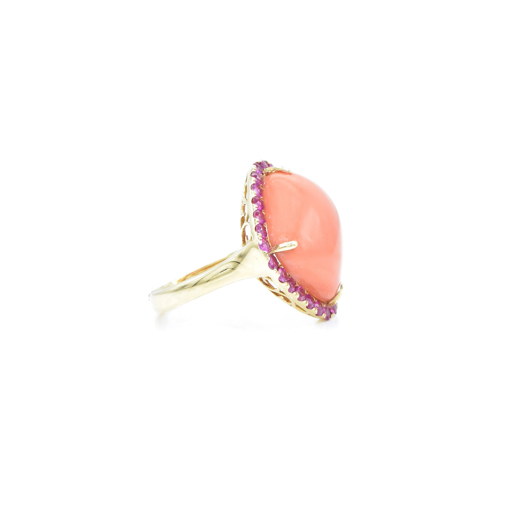 18kt Yellow Gold Coral and Pink Sapphire Ring