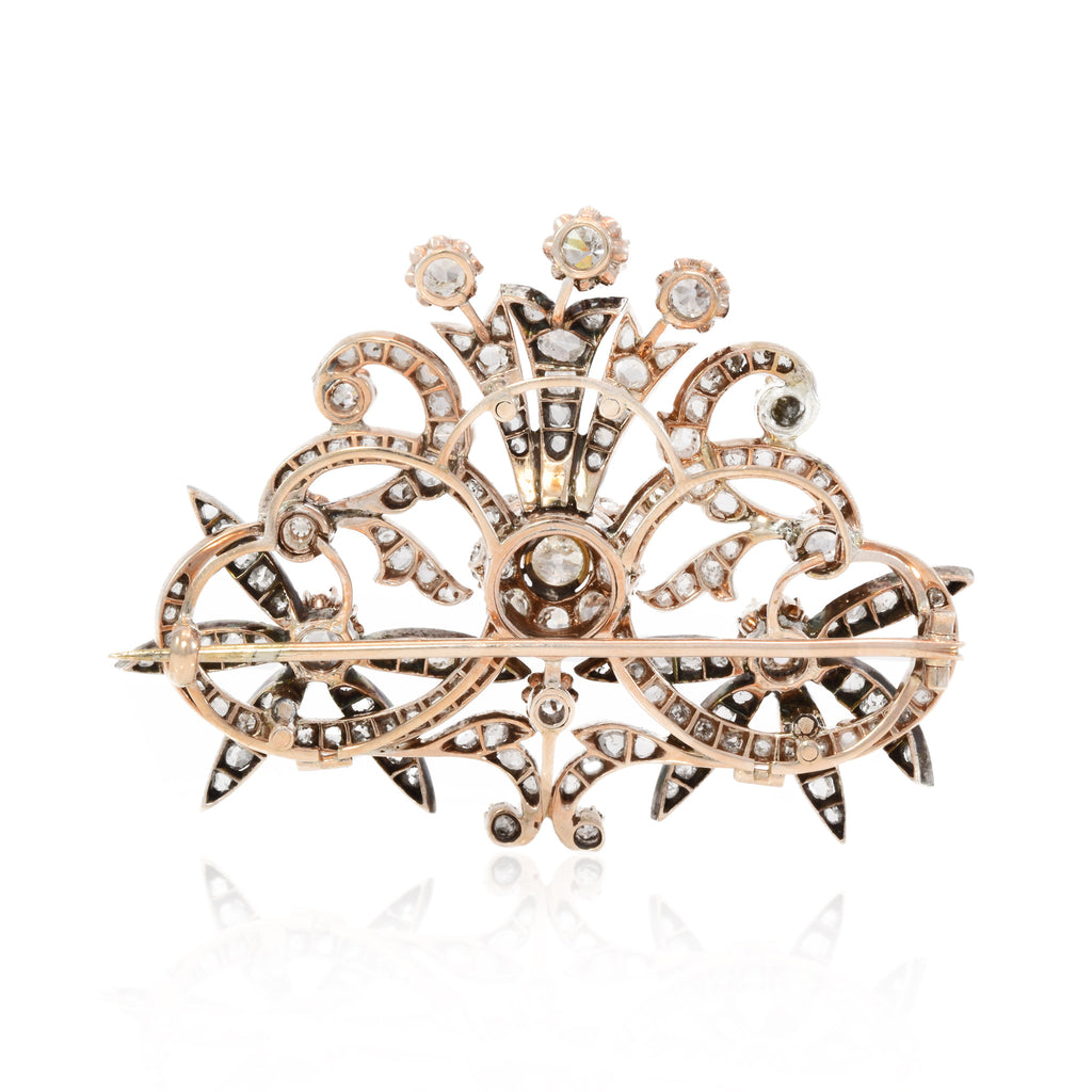 Antique Pin 14kt Rose Gold with Sterling Silver and 8.50ct Diamonds