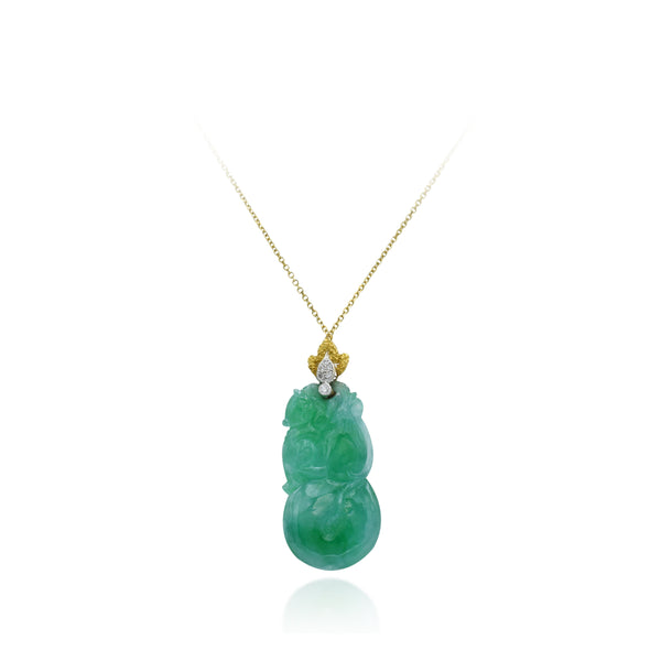 Estate 18kt Gold and Jade with Diamond Pendant