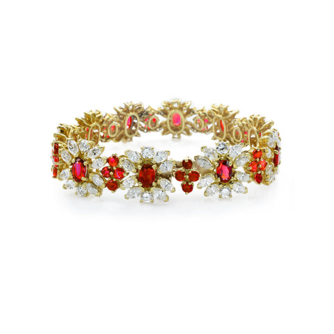 Estate 18kt Gold Diamond and Ruby Bracelet