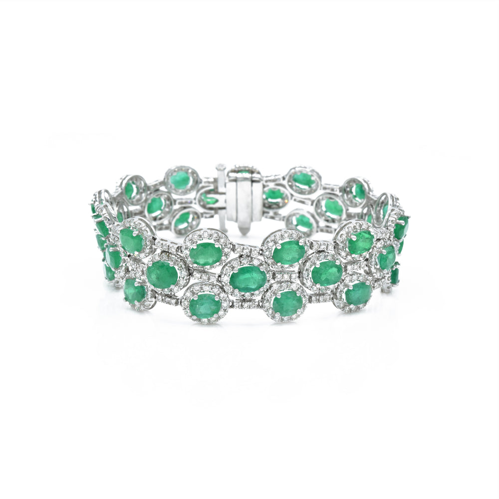 18kt White Gold Diamond and Emerald Bracelet